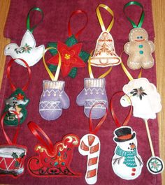 Lot of 12 Embroidered Felt Christmas Ornaments: Gingerbread, Horse, Bell, Gloves, Poinsettia,  Snowman, Drum, Elf, Candy Cane, Sleigh, Dove