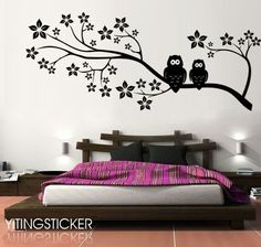 cherry tree with owl wall decal --larger decor wall sticker art   Graphic 70.8 inch. $35.99, via Etsy.