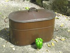 """Great Large Antique Copper Boiler with Lid & lots of Character """"Kreamer"""" kettle"""