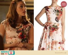 Annabeth's peach floral dress and blue necklace on Hart of Dixie.  Outfit Details: https://wornontv.net/21491/ #HartofDixie