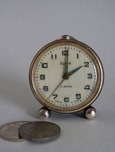 Retro Alarm Clock Vintage Clock Slava Russian Alarm Clock Tabe Clock  Russian Retro Teal Clock For