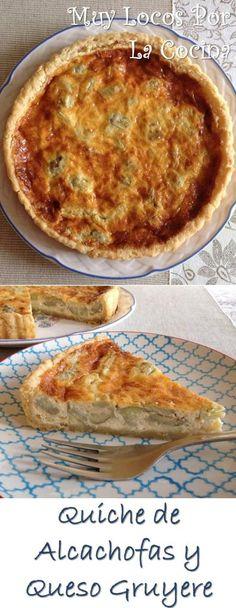 Quiche de Alcachofas y Queso Gruyere: Una tarta salada perfecta como entrante de una comida o como parte de una cena ligera.