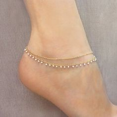 773289536b99 Gold Double Beaded Chain Anklet   White   Gold Summer Boho Ankle Bracelet    Delicate Bohemian Foot Ankle Jewelry