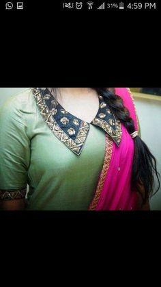 Neck Designs For Suits, New Blouse Designs, Blouse Neck Designs, Sleeve Designs, Blouse Styles, Salwar Neck Patterns, Blouse Patterns, Gala Design, Kurta Neck Design
