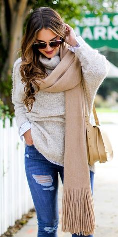#fall #outfits · Topshop High Waisted Jeans + Beige Sweater