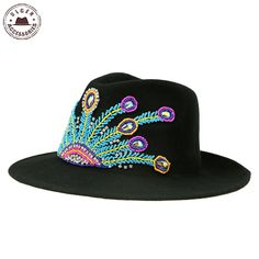 2836e6ac1c1 Find More Fedoras Information about Ulgen Designed vintage fedora hats with  jewely black wool felt peacock