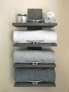 Nautical towel rack nautical decor bathroom decor home decor cleat towe Lake House Bathroom, Beach Bathrooms, Master Bathroom, Small Bathroom, Bathroom Ideas, Bathroom Inspiration, Farmhouse Bathrooms, Rental Bathroom, Minimal Bathroom