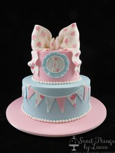 Shabby Chic First Birthday Cake - Contact Hyderabad Cupcakes to order!