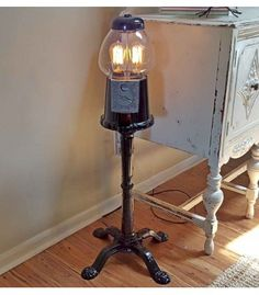 Gumball Machine Lamp with Vintage Edison Bulbs