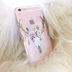 Floral Deer Skull iPhone Case - Clear Case with Hipster Design For iPhone SE, iPhone 6s, iPhone 6 Plus, iPhone 5s, iPhone 5c, iPhone 4 by ArlaLaserWorks on Etsy https://www.etsy.com/listing/289518757/floral-deer-skull-iphone-case-clear-case