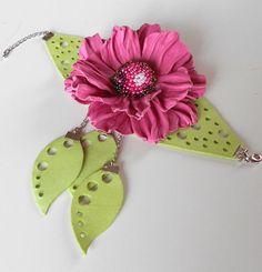 Pink leather flower braclet Radiant orchid by Flowerartstudio, $40.00