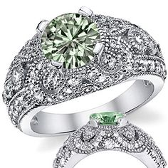 Green Round Moissanite Antique Style Engagement Ring