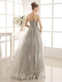 Strapless Brides Wedding Dress With Sweetheart Neck - Milanoo.com