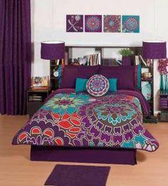 New Girls Purple Flowers Comforter Sheets Bedding Set Full Queen Purple Bedspread, Purple Bedding Sets, Purple Comforter, Floral Comforter, Comforter Sets, Bedroom Colors, Bedroom Decor, Bedroom Ideas, Bedroom Furniture