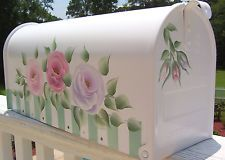 Hand Painted Mailbox  Rural Decorative Multicolored Chic Cottage Shabby  Roses
