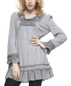 Look at this Heather Gray Ruffle Embellished Neck Peasant Tunic on #zulily today!