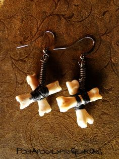 Earrings :: X Sharped Coyote Toe Bone - Post-Apocalyptic Gear - Handmade bone jewelry and leather goods.