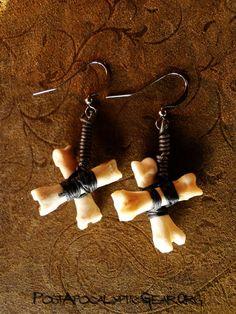 Earrings :: X Sharped Coyote Toe Bone - Post-Apocalyptic Gear - Handmade bone jewelry and leather goods.