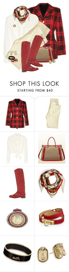 """Equestrian Work Wear"" by halebugg ❤ liked on Polyvore featuring AG Adriano Goldschmied, Maje, Gucci, Frye, Ralph Lauren Collection, Hermès and Sam Edelman"
