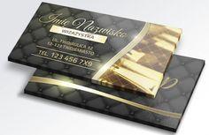 projekt wizytówki dla wizażystki w kolorach złotych z pikowaną skórą więcej na www.e-reklamowe.com