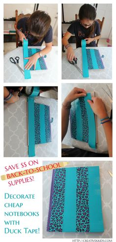 Save money on school supplies by using Duck Tape to decorate cheap notebooks. #ad