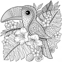 Illustration about Coloring book for adults. Toucan among tropical leaves and flowers. Coloring page for relax and relif. Illustration of graphic, book, design - 119394632 Bird Coloring Pages, Mandala Coloring Pages, Printable Coloring Pages, Coloring Pages For Kids, Coloring Books, Dibujos Zentangle Art, Mandala Drawing, Animal Sketches, Tropical Leaves