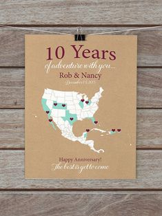 10 Year Anniversary Gifts, 10th Anniversary Personalized Map of Travels, Gifts for Him, Husband, Her, Wife - Wedding Anniversary, Tenth Year