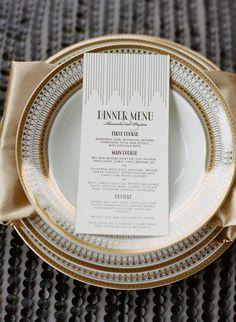 Art Deco Shoot + DIY from Oak and the Owl - The gold details on the plates and the menu are GORGEOUS! Such great little details that really add - Great Gatsby Wedding, Wedding Menu, 20s Wedding, Wedding Foods, Lesbian Wedding, Wedding Tables, Wedding Vintage, Wedding Catering, Wedding Wishes