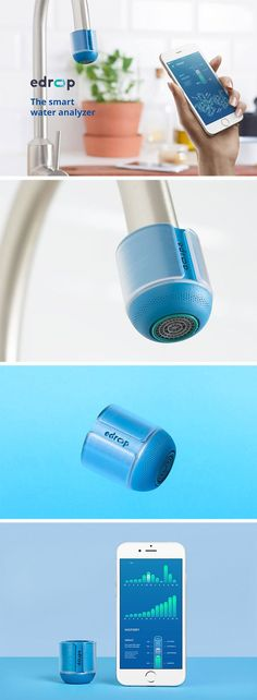 eDrop – a barely-there smart monitoring device which helps you keep track of your daily water usage.
