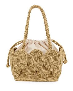 Mu Cha Cha Rope Square Tote Bag -Mehry Mu Cha Cha Rope Square Tote Bag - Handmade Golden Grass Sling Handbag from Brazil - Golden Links Crochet Handbags, Crochet Bags, Bergdorf Goodman, Brand Name Bags, Diaper Bag Backpack, Diaper Bags, Buy Backpack, Jute Bags, Fabric Bags