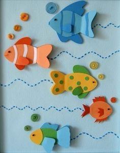Für Kinder: Fishes Activites for preschool crafts 2019 Fish Paper Craft, Art N Craft, Paper Crafts, Ocean Crafts, Fish Crafts, Fish Activities, Activities For Kids, Art For Kids, Crafts For Kids