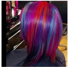 Red. Purple. Pink. Aqua. Hair color