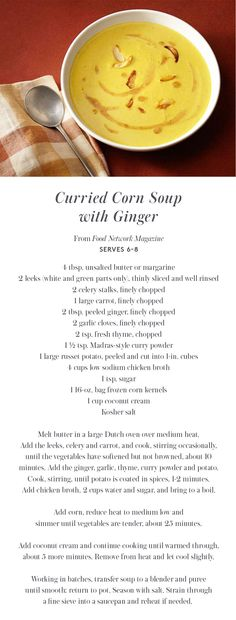 Curried Corn Soup with Ginger