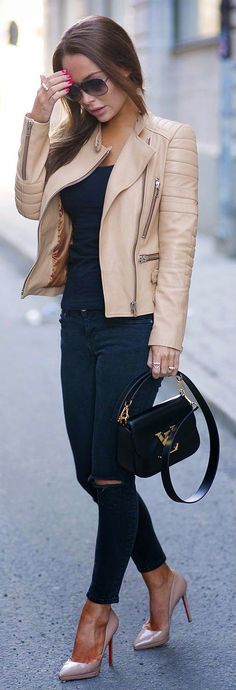BUTTERY LEATHER - Black Skinny Jeans and Tee, Buttery Leather Moto Jacket and Christian Louboutin Nude Pumps /