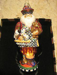 MacKenzie Childs Toymaker Santa Glass Ornament **NIB
