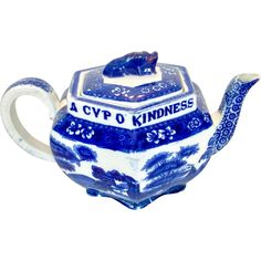 Antique Copeland Spode flow blue 'Tower' teapot