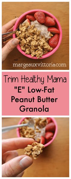 Trim Healthy mama E Low-Fat Peanut Butter GranolaPreheat oven to all ingredients in a medium bowl with a fork until syrup is evenly distributed.Transfer granola to a baking sheet and bake for 20 minutes. Cool completely before eating. Trim Healthy Mama Diet, Trim Healthy Recipes, Thm Recipes, Healthy Snacks, Healthy Brunch, Healthy Low Fat Meals, Freezer Recipes, Freezer Cooking, Healthy Diet Plans