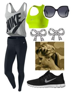 Workout clothes minus the shades and earrings. Who wears that when you work out anyways?! DUMB!