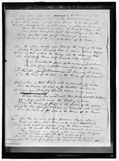 KEY, FRANCIS SCOTT. ORIGINAL MANUSCRIPT OF 'STAR SPANGLED BANNER' Harris & Ewing Photographer, 1914. Harris and Ewing Collection, Library of Congress Prints and Photographs Division.