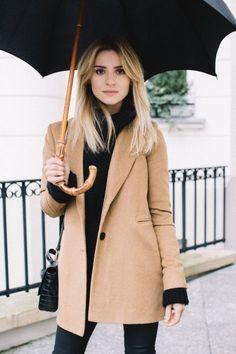 cool Street Style : Camel & Black | London Street Style....