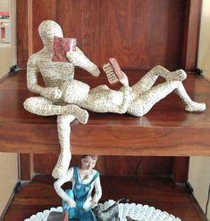 Paper mache sculpture, reading couple, reading woman, reading man, booklover gift, shelf decor sculpture, ooak sclpture
