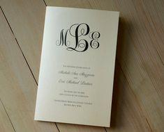 "Classic Monogram Design Folded 5x7"" Wedding Program, Ivory Church Ceremony Bulletin"