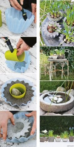 23 Jaw-Dropping DIY Flower Pots Ideas to Give Your House a Stunning Look - Diy Garden Decor İdeas Garden Crafts, Diy Garden Decor, Garden Projects, Garden Art, Garden Ideas, Backyard Ideas, Diy Concrete Planters, Concrete Garden, Diy Planters