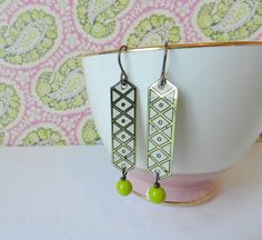 Gold white and green vintage tin earrings by giftworldz on Etsy, $22.00
