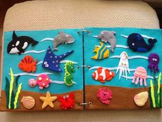 Under the sea quiet book - images for ref only. Diy Quiet Books, Baby Quiet Book, Felt Quiet Books, Quiet Book Templates, Quiet Book Patterns, Felt Diy, Felt Crafts, Book Quilt, Busy Book
