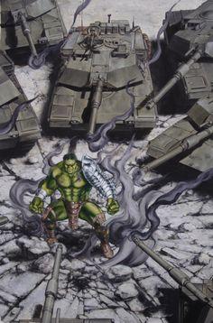 """marvelmasterworks: """"World War Hulk Front Line cover art by John Watson, """" Hq Marvel, Marvel Fan Art, Marvel Dc Comics, Marvel Heroes, Hulk Poster, Superhero Man, World War Hulk, Hulk Art, Captain Marvel Carol Danvers"""