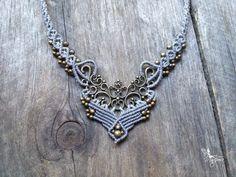 Micro macrame necklace elven jewelry light par creationsmariposa, $52.00