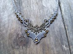 Micro macrame necklace elven jewelry light par creationsmariposa, $52.00