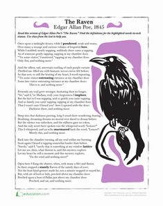 Halloween Fifth Grade Poetry Vocabulary Worksheets: The Raven