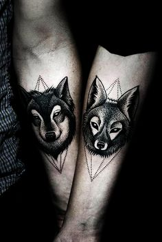 Best Couple Matching Tattoo collection of 2018 from our goose tattoo shop. couple matching tattoo designs for you. Wolf Tattoos, Animal Tattoos, Body Art Tattoos, Tattoo Ink, Swag Tattoo, Tattoo Fonts, Couple Tattoos, Tattoos For Guys, Tattoos For Women